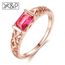 Buy X&P Brand Unique Fashion Retro Engagement Red Crystal Rings Women Rose Gold Silver Tone Ring Jewelry Gift for $1.39 in AliExpress store