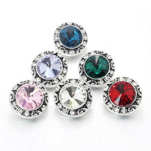 10pcs/Lot Mix 18mm Snap Button Jewelry Charm Rhinestone Ginger Button For Snap Fit DIY Snap Bracelets&Bangles Accessory 010207(China)