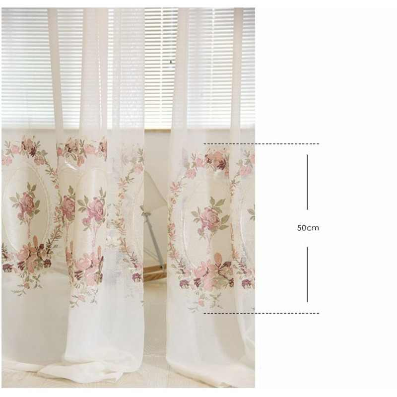Sheer white Embroidered pink flower curtain elegant royal valance voile tulle for living room bedroom balcony door WP295 *20