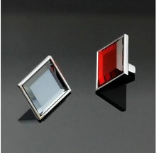 Modern Fashion 34mm Square red  K9 crystal with drawer  cabinet  furniture handles pulls glass knobs  shiny silver pulls