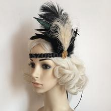 Vintage 20s Feather Headband Flapper Charleston Party Headpiece Fancy Dress
