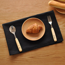 Japanese Minimalist Black Cotton Cloth Napkin Coffee Dinner Table Placemats For Home Decoration Rectangle Pads(China)