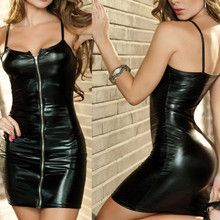 Buy 2017 New Womens Sexy Spaghetti Strap Faux Leather Bodycon Pencil Dress + T-back Set lingerie Sets Sexual Underwear set