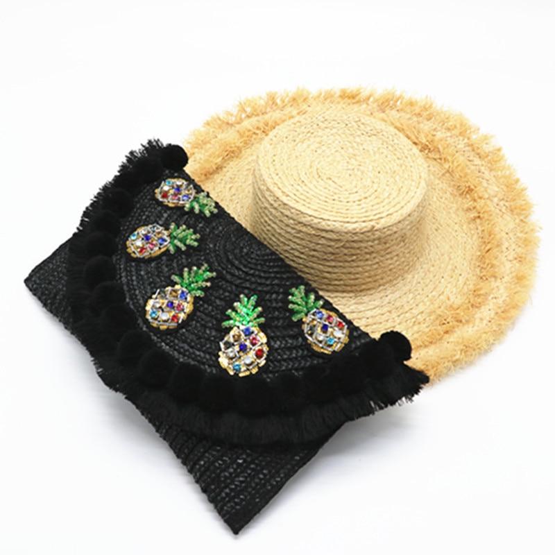Beach Shoulder Bag Women Pom Ball Pineapple Beading Big Straw Crossbody Bag Ladies Ethnic Tote Bag Fashion Clutch Bolsa Feminina