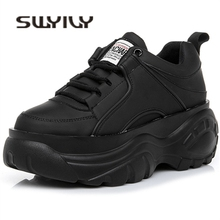 SWYIVY Female Shoes White Sneakers Spring High-Platform Black Woman Breathable New 40