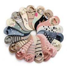 1Pair Low Cut Ped Sock Lovely Soft Women Girls Cute 3D Cartoon Animal Cotton Warm Socks Ankle Horsiery New 18 Colors(China)