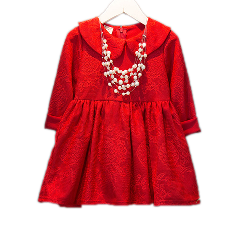 Autumn Kids Dress For Girls Wedding Party Princess Toddler Dress Red Peter Pan Collar Long Sleeve Full Lace Birthday Party Dress<br><br>Aliexpress