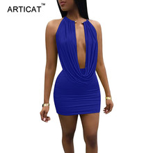 Buy Articat Halter Deep V Neck Bodycon Dress Draped Backless Womens Sexy Skinny Party Dresses 2018 Casual Bandage Summer Dress Short