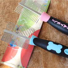 1pcs  Pets Two-sided Straight Comb Stainless Steel Pins Dog Bones Grooming Brush 18cm Cute Dog Comb for long hair pets