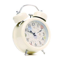 Fashion Cream Farm Vintage Alarm Clocks Metal Flower Leaf Twin Double Bell Alarm Clock(China)