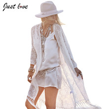 Boho Women Fringe Lace Kimono Cardigan White Tassels Summer Beach Cover Up Cape Tops Blouses Damen Bluze Long Coat Sunscreen