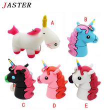 JASTER Cartoon white Unicorn minion usb flash drive real capacity cute horse pen drive 4G 8G 16G 32G flash memory U dis