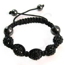 Wholesale! 10mm 5 CZ Crystal Disco Ball Black Shamballa Bracelet. VDR4548 Free Shipping Rhinestone Bracelet Best Christmas Gift!(China)