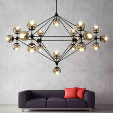 Loft Minimalist Chandeliers The Beanstalk LED Retro Lamps Art Decoration Lights E27 Industrial Glass Chandelier For Restaurant(China)