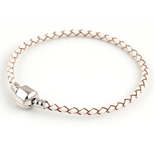 Summer Style white Genuine Leather Bracelet Chain Fit For Charms Bracelets DIY Metal fit for Alloy Glass European Big Hole Bead
