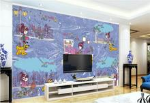 Custom 3D Photo Wallpaper Room Mural Cartoon Girl and Dog Outdoor Sports Photo Sofa TV Background Wall Non-Woven Wallpaper Mural