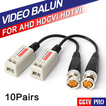 10Pairs 200M Range For HDCVI/AHD/TVI camera Twisted BNC CCTV Video Balun Passive Transceivers UTP Balun BNC Cat5 CCTV UTP