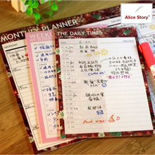 Romantic bird&flower My schedule weekly Daily times memo pad note pad to do list check list daily schedule weekly agenda(China)
