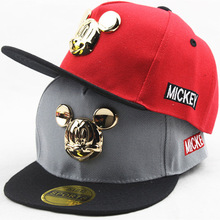 2016 New Kids Baseball Cap Fashion Cartoon Gold Mouse Heads Children Snapback Caps Boys Girls Hip Hop Hat Sun Hats MZ3596