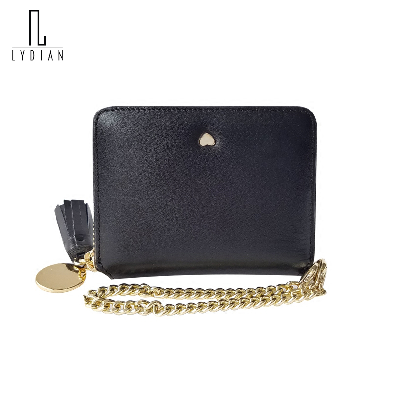 LYDIAN 2017 Japan Wallet Mix Slim Chain Gold Purse Girl Fashion Leather Short Wallet Cowhide Love Bucket Chain Tassel Coin Purse<br>