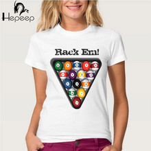 Track Ship+New Vintage Retro Cool Rock&Roll Punk women T-shirt Top Tee Rack Em! Pool Balls Billiards funny girl t shirt(China)