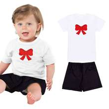 Summer Toddler Kids Baby Girls Clothes Sets Short Sleeve T-shirt Tops+Shorts Infant Funny Red Bow Print T Shirt 2 Pcs Sets(China)