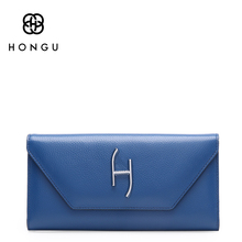 Hongu Women Genuine Leather Long Wallet Female Women Evening bag Famous Brands Ladies Long Clutches With Coin Purses Card Holder(China)