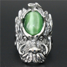 Jade Stone Dragon Ring 316L Stainless Steel Cool Man Hot Popular Band Party Huge Dragon Head Ring
