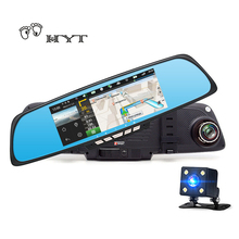 "HYT H750 6.86"" Car Dvr Mirror Rearview Camera Android GPS Navigation Video Recorder dual lens WiFi FM Transmit RAM 1GB ROM 16GB(China)"