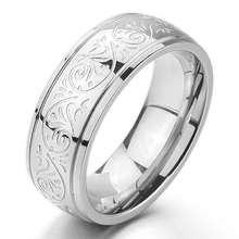 Redwin Jewelry Stainless Steel Ring With Engraved Florentine Design Sizes 5 to 8 Men Stainless Steel Ring