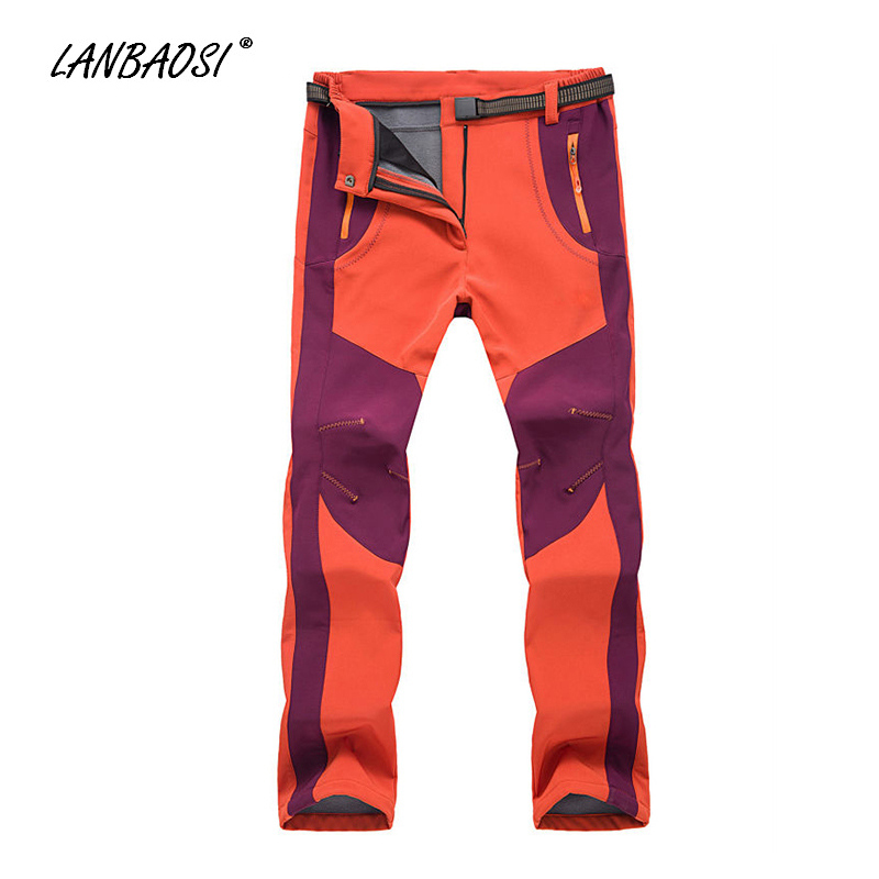 LANBAOSI Winter Womens Outdoor Sports Skiing Hiking Pants Thick Thermal Fleece Waterproof Snow Mountain Snowboarding Trousers<br>
