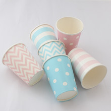 Paper Cups 72pcs/lot Disposable Decoration Party Chevron Striped Dot Paper Cups Outdoor Camping Picnic Drinkware