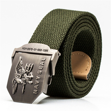 High Quality Men Western Us Navy Seal Metal Buckle Weave Canvas Tactical Knitted Belts(China)