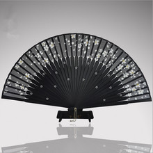 Hot Sale Black Leques Japoneses Ladies Bamboo Folding Hand Fans,Wholesale Personalized Bamboo Fan of Old Wedding Decoration 3
