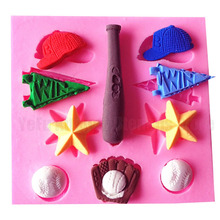 Sport Series baseball softball golf hats chocolate Party DIY fondant cake decorating tools silicone mold T1047(China)