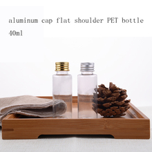 50pcs/ lot Clear 40ml PET Small Plastic Bottles With Inner plug silver/gold Screw Cap Lotion Toner Makeup Sample Bottles EB146