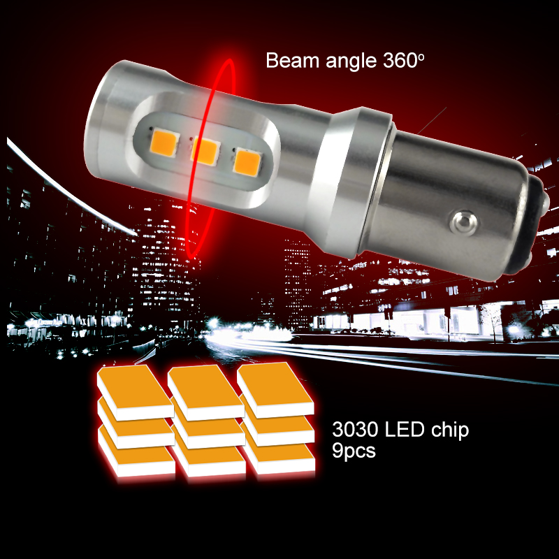 CNSUNNYLIGHT Car LED Stop Light Canbus 1157 P21 5W BAY15d S25 3030 9SMD Car Brake Reverse Lamp Rear Fog Parking Bulbs No Error (8)