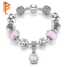 BELAWANG Trendy Children Cat Kitty Charm Bracelet for Kids Girl Murano Glass Beads Bracelet For Women Ladies DIY Fashion Jewelry(China)