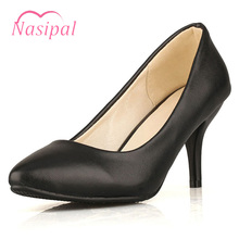 Buy Nasipal 8cm High Heel Spike Heel Slip Shallow Woman Wedding Pumps PU Leather Pointed Toe Shoes Spring Autumn Size 31~43 C352 for $17.02 in AliExpress store