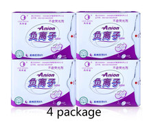 100% pure cotton 4 pieces of monthly love negative ion sanitary napkin, night using women's menstrual pads for free shipping