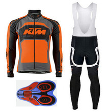 KTM Winter Thermal Fleece Cycling Jerseys Set Bicycle Cycling Clothing Ropa Ciclismo Invierno Warm 9D Pad More Comfortable