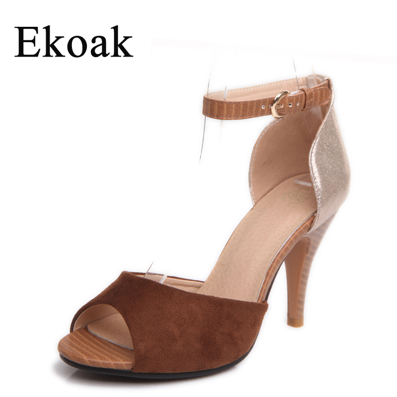 Ekoak Size 35-43 New 2017 fashion women sandals Sexy peep toe Super high heels party dress shoes woman summer sandals<br><br>Aliexpress
