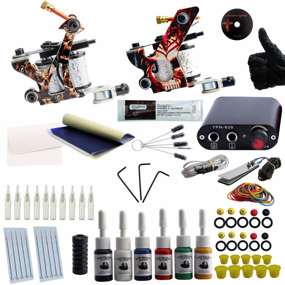 Tattoo Kit Professional Complete Tattoo Kit 2 Machine Guns Inks Needles Tattoo Power Supply 6 Colors Ink Set Tattoo Machine Set<br>
