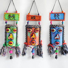 Chinese Regional Ethnic Dongba colorful masks bar/hotel/clubs Mural Campanula decoration creative handmade Wooden mask/craft(China)