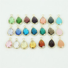 50PCS  Mixed Color Natural Clear Crystal Waterdrop Quartz Stone Pendant/Connector,Gold color Frame Faced Bezel Crystal Agate