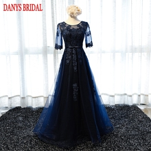 Navy Blue Long Lace Evening Dresses with Sleeves Party A Line Beautiful Women Prom Elegant Formal Evening Gowns Dresses On Sale(China)