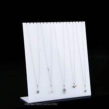 High Quality  Acrylic Necklace Display Rack L Shelf Jewelry Showing Stand Hooks Showcase Props