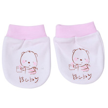 2015 Fashion Cartoon Pattern Anti-grasping Gloves For Newborn Protection Face Baby Mitten(China)