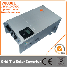 7000W 180V-1000VDC Three Phase Transformerless Solar Grid Tie Inverter with 2 MPPT