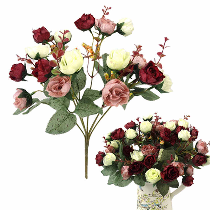 21 Heads Elegant Beautiful European Artificial Rose Simulation Silk Flowers Bouquet Home Dec Party Wedding Decal